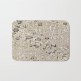 Vintage Map of Paris France (1841) Bath Mat