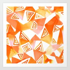 Geo Triangle Orange Art Print