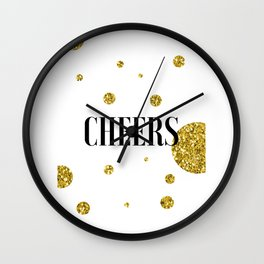 Champagne Quotes Cheers POP FIZZ CLINK Sign Printable Art Foil Print Gold Foil Alcohol Quote Wall Clock