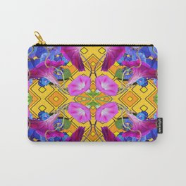 Blue  Patterns Morning Glories & Gold Carry-All Pouch