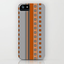 Squares and Stripes in Terracotta and Gray iPhone Case