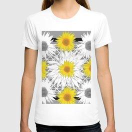 Decorative B&W Yellow-White Sunflowers T-shirt