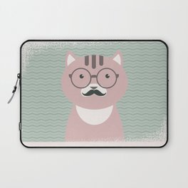 Clever Cat Hipster Mustache Character Laptop Sleeve