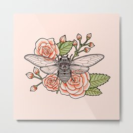 Cicada with Roses - Pink Metal Print