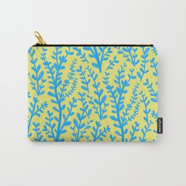 Yellow and Blue Floral Leaves Gouache Pattern Carry-All Pouch