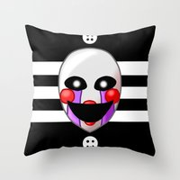 fnaf Throw Pillows featuring FNAF Marionette by Bloo McDoodle