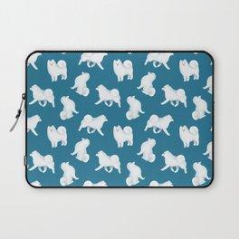 Samoyed Pattern (Blue Background) Laptop Sleeve