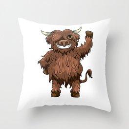 Happy Highland Cow Kawaii Cartoon Style Throw Pillow