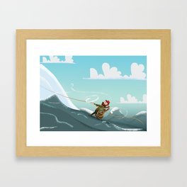 Rock Climbing Man Framed Art Print