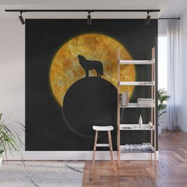Wolf Howling On The Moon Wall Mural