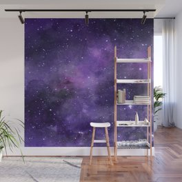 Purple Watercolor Space Pattern Wall Mural