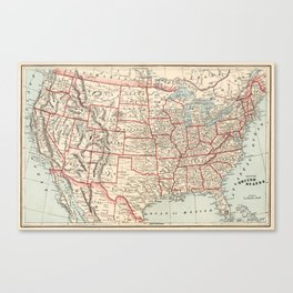 Vintage Map of The United States (1893) Canvas Print