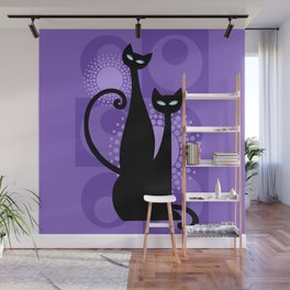 Purple Paradise Atomic Age Black Kitschy Cats Wall Mural