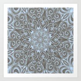 Light Blue Center Swirl Mandala Art Print