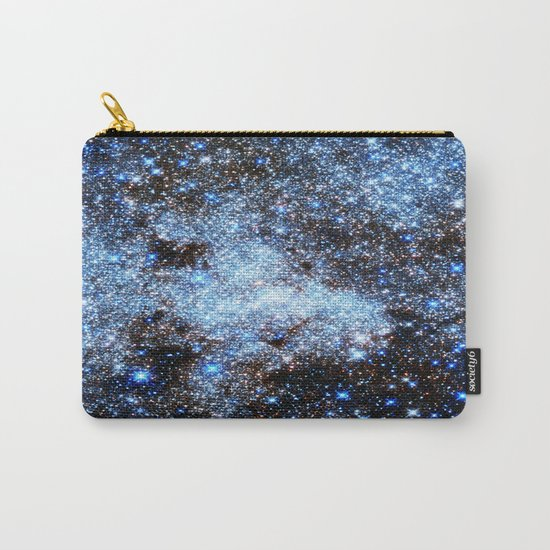 gAlaxY : Blue Sparkle Stars Carry-All Pouch