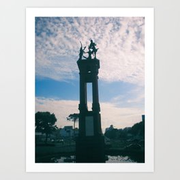 Statue in a fountain Art Print
