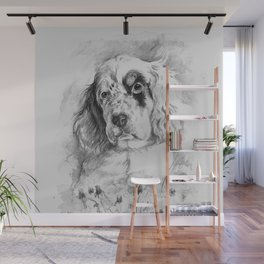 English Setter puppy Black and white portrait Wall Mural