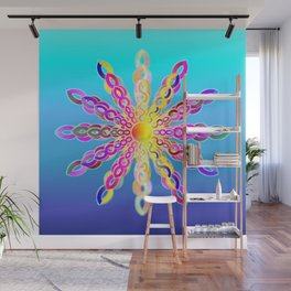 Solar Power Mandala (turquoise-sky blue background) Wall Mural