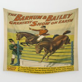 Vintage poster - Circus High Jumping Horses Wall Tapestry