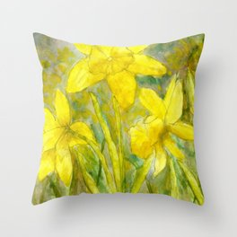Rise and Shine, Watercolor Daffodils Painting Throw Pillow