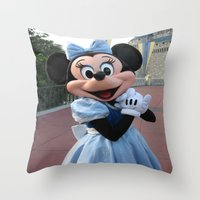 minnie mouse Throw Pillows featuring Minnie Mouse by Jackash14