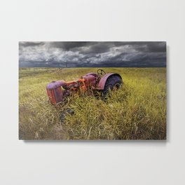 Abandoned Farm Tractor on the Prairie Metal Print