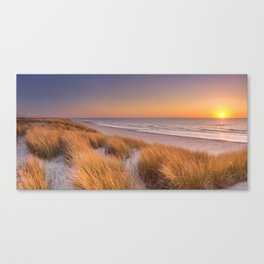 Dunes and beach at sunset on Texel island, The Netherlands Canvas Print