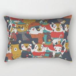 Funky Retro Christmas Animals Rectangular Pillow