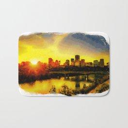 Sunset Above Edmonton Downtown And The Saskatchewan River, Canada Bath Mat