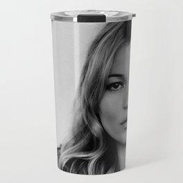 Kate Moss old digitally manipulated black an white photo Travel Mug