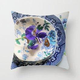 Blue Floral Plates Throw Pillow