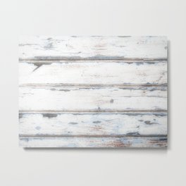 Old Painted Planks In Fog, Wood Texture Decor Metal Print