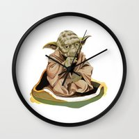 yoda Wall Clocks featuring Yoda by Rocío Gómez