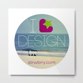 I Strawberry Design Metal Print