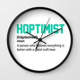 Hoptimist For Craft Beer Lovers Wall Clock