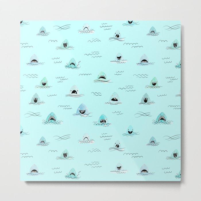 Sharkhead - Shark Pattern Metal Print