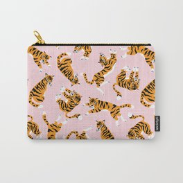 Cute tiger in the tropical forest hand drawn on pink background illustration Carry-All Pouch