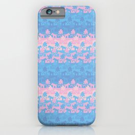 pink and blue unicorns iPhone Case