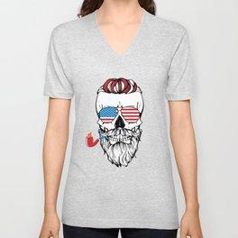 USA Skull Cigaret Unisex V-Neck