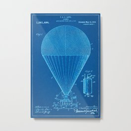 1913 Air Ship Patent - Blueprint Style Metal Print