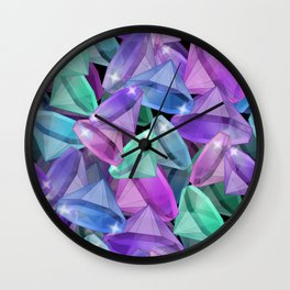 Placer precious stones Black background . Diamonds . Wall Clock