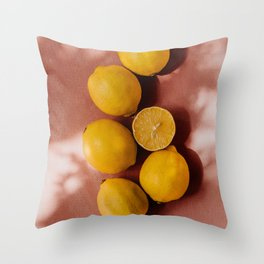 Summer vibe | Yellow lemon and pink background | shadow and sunlight art print | pastel photography Throw Pillow