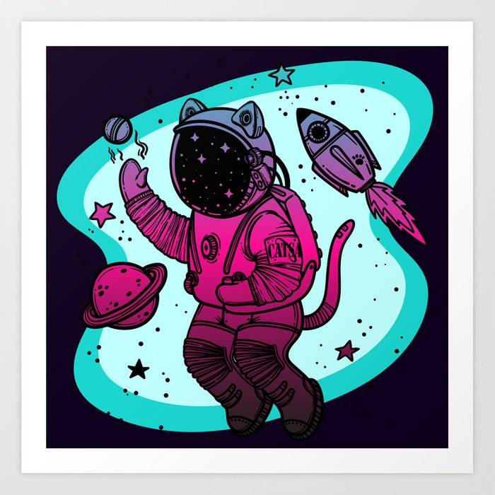Space Cat Shower Curtain Felline Astronaut Print for Bathroom