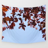 cherry blossom Wall Tapestries featuring Cherry Blossom by madbiffymorghulis
