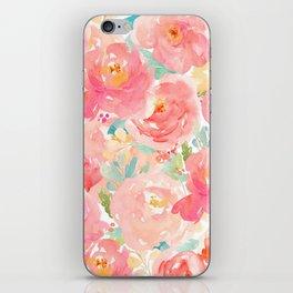 Preppy Pink Peonies iPhone Skin