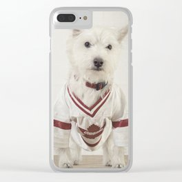 Hockey Player Dog Rookie Card Clear iPhone Case