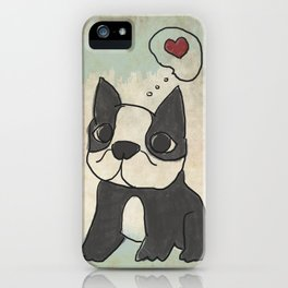 Hand Drawn and Quirky Boston Terrier San Jones Illustration iPhone Case