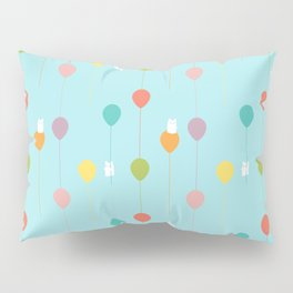 Fluffy bunnies and the rainbow balloons pattern Pillow Sham