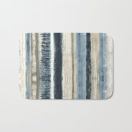Distressed Blue and White Watercolor Stripe Bath Mat