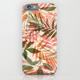 Tropical foliage pink and green iPhone Case